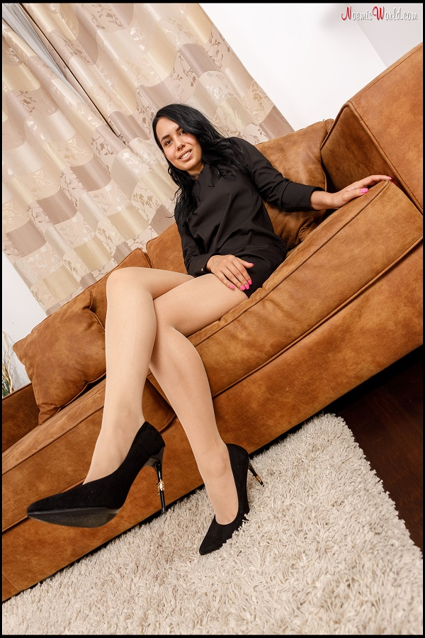 Noemi's World - Sofia - Her pink toenails look great through the nude pantyhose - Femdom Pictures