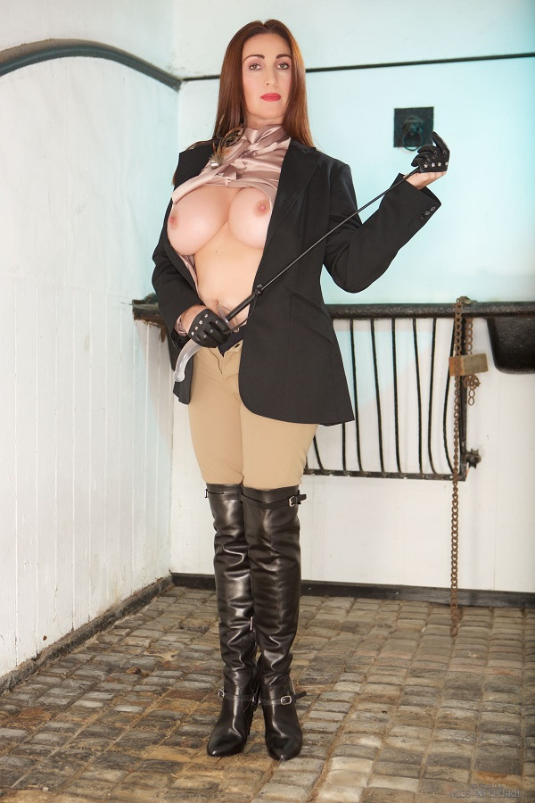 Miss Hybrid - Pussybow Blouse With Ralph Lauren Jodhpurs And Thigh Boots - Femdom Pictures