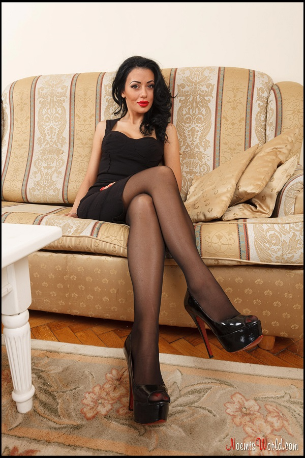 Noemi's World - Hera - Classy ladies wear black sheer pantyhose and red toenail polish - Femdom Pictures