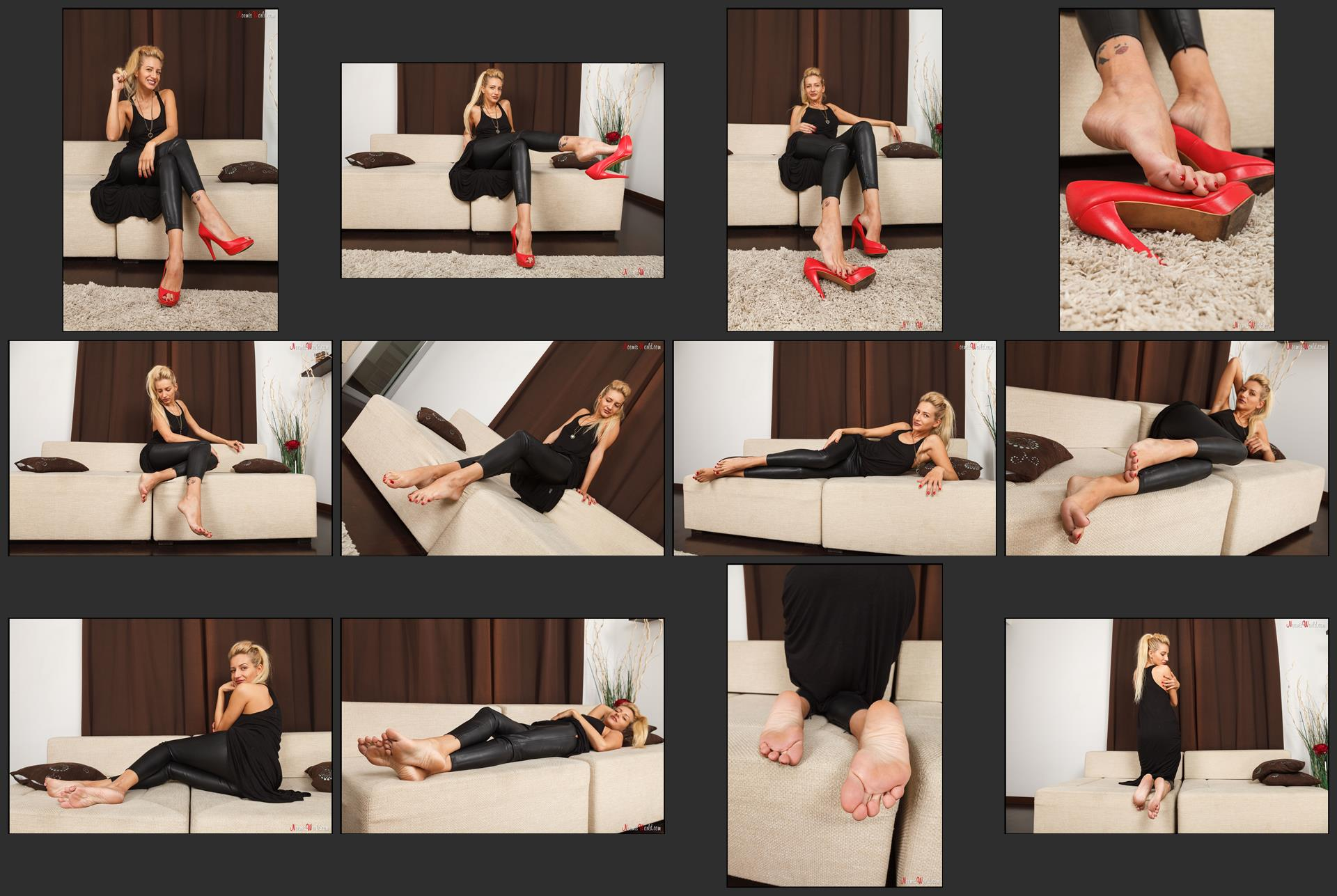 Noemi's World - Pearl - Blonde girl will rub her rough soles on your face - Femdom Pictures